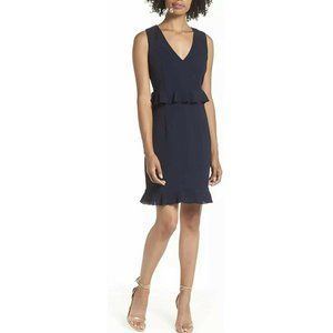 Charles Henry Navy Double Ruffle Sheath Dress. PM